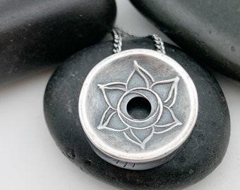 MADE TO ORDER: Small Silver Sacral Plexus Chakra Centering Pendant©, Yoga Jewelry, Lotus Jewelry, Meditation, Mindfulness, Handmade silver