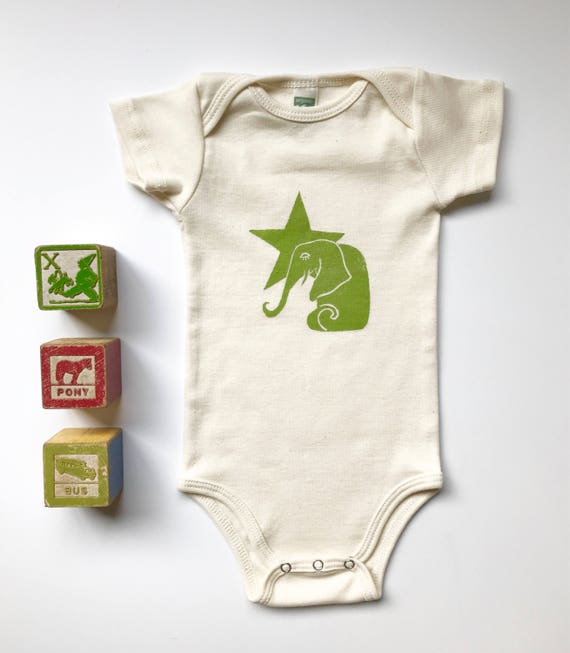 Elephant And Star Organic Cotton Short Sleeve One Piece In Etsy