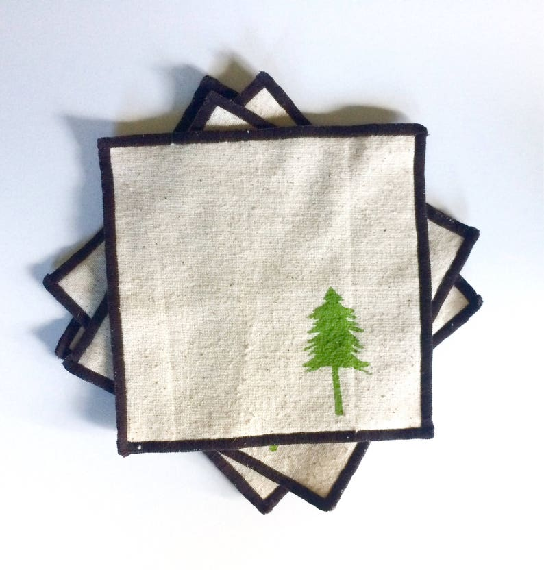 Evergreen Tree Cocktail Napkin Set of Four-Handmade in Seattle Ships free in US 100/% cotton cloth coaster