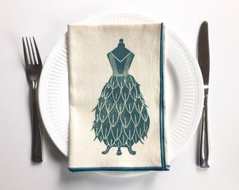 Dress Designs Handmade Block Printed Napkin Set of Four- Cotton Napkin Set- -Cotton Anniversary- Gown Designs-Mother's Day Gift- Reusable