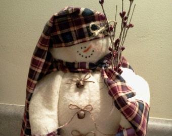 Rodney Snowman Handmade Fabric Soft Sculpture Doll