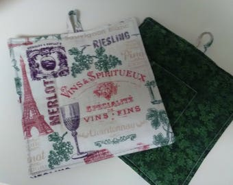 Set of 2 square quilted pot holders insulated Wine Riesling Zinfandel cooking baking trivet hot pot kitchen
