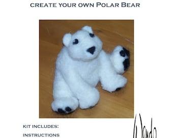 Needle Felting Kit.  Polar Bear