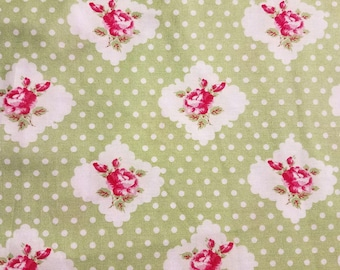 """Darla """"Rosie Dot"""" by Tanya Whelan Cotton Fabric by the Yard - Green Colorway - Grand Revival for Free Spirit (discontinued) OOP"""