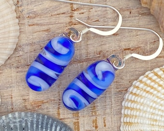 Fused Art Glass Jewelry Blue White Spiral Dangle Drop Earrings - Sterling Silver Ear Wires FREE Shipping