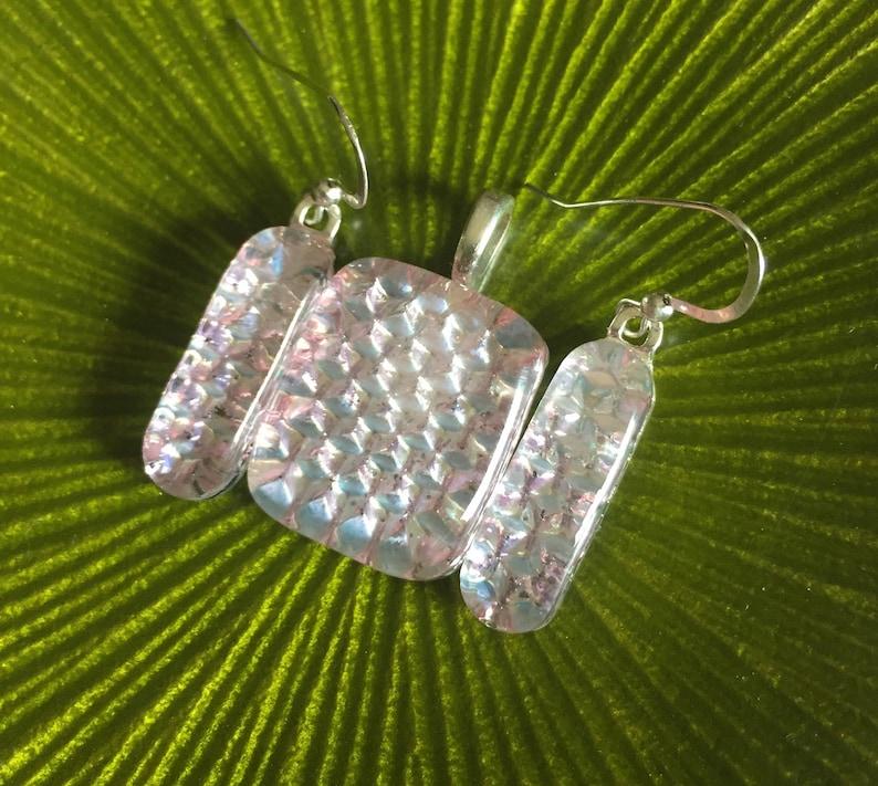 SALE  Beautiful Light Pink Pattern Handmade Fused Dichroic Art Glass Jewelry Matching Earrings Pendant Set  FREE shipping
