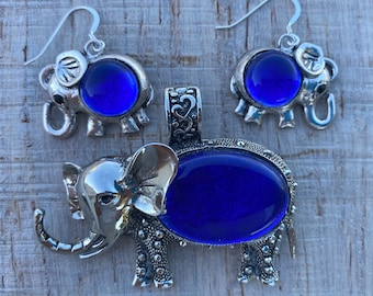 Blue Lucky Elephant Fused Dichroic Glass Jewelry Matching Pendant Earrings Bezel Setting Set  FREE SHIPPING