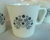 Summer Impressions, Blueberry - Diagonal Handle Coffee Mug Vintage Pyrex 50s