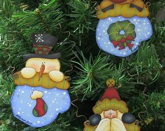 Set of 3 Wood Mitten Ornaments Santa, Snowman and Reindeer