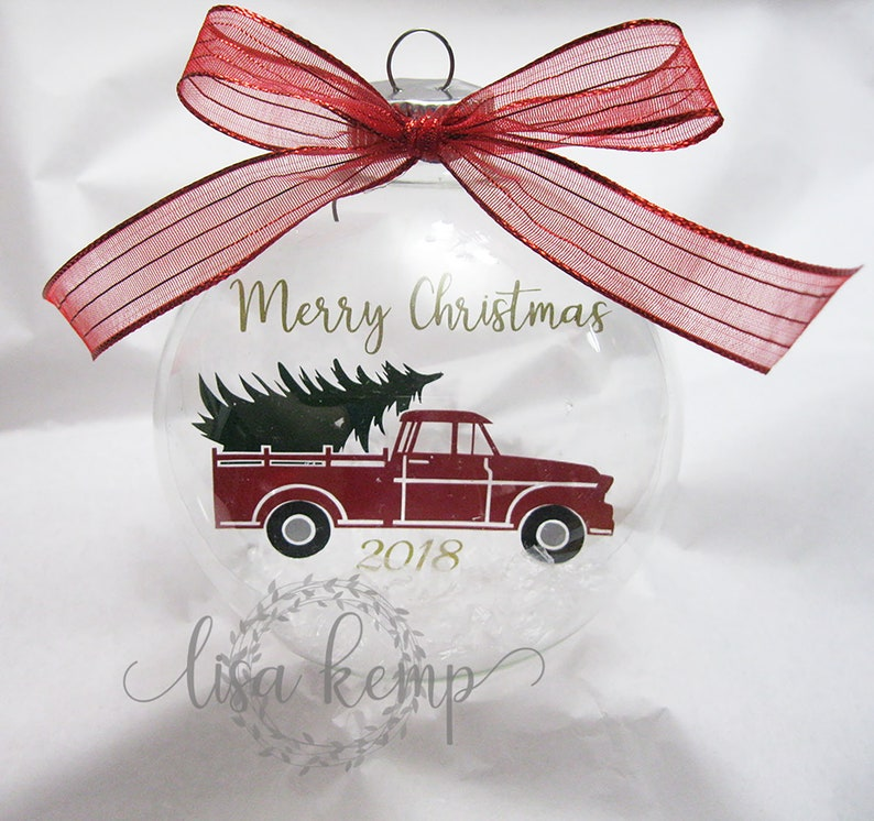 Merry Christmas Truck and Tree Floating Glass Ornament