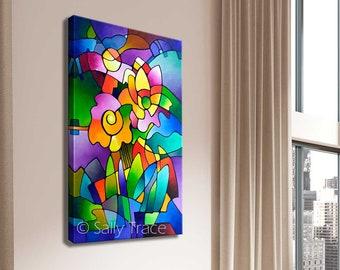 Abstract Art Print, Geometric Art, Cubist Floral Print, Giclée Print on Canvas from my Original Abstract Floral Geometric Painting