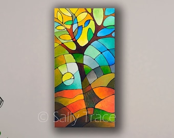 Abstract Geometric Fine Art Giclée Print on Stretched Canvas, Modern Art Abstract Tree Print from my original abstract landscape painting