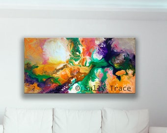 """Giclée Print on Stretched Canvas made from my Original Abstract Fluid Art Painting """"Jupiter's Moons""""  wall art canvas, horizontal wall art"""