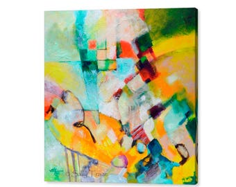 Giclée Print on Canvas from my Modern Abstract Painting, Large Abstract Canvas Wall Art, 30x30, 36x36 inches