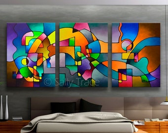 Acrylic Abstract Triptych Painting, Colorful Large Geometric Wall Art Triptych, Original Paintings Modern Art Painting Contemporary Art