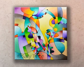 Original Abstract Geometric Acrylic Painting on Stretched Canvas, large 36x36 inch colorful hard edge geometric abstraction canvas painting