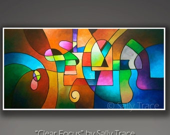 """Modern Contemporary Geometric Abstract Art, """"Clear Focus"""", Fine Art Print on Paper from the Original Abstract Painting"""