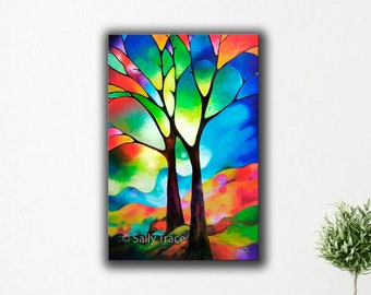Original abstract tree painting, textured abstract landscape canvas tree painting, oil painting, large, geometric landscape, made to order