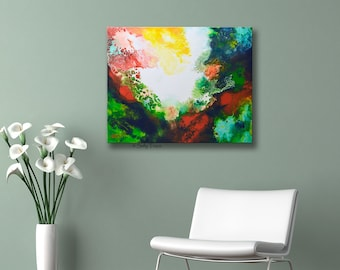 Colorful and Dramatic fluid pour painting on stretched canvas, acrylic painting, fluid art, pouring painting