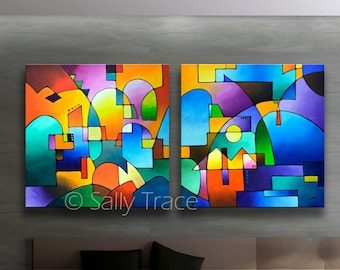 Modern Contemporary Giclée Prints made from the original abstract painting, geometric giclée prints, geometric wall art set, large prints