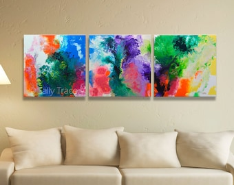 Fluid Art Triptych, giclée prints on stretched canvas from my original abstract fluid triptych painting, extra large wall art, canvas prints