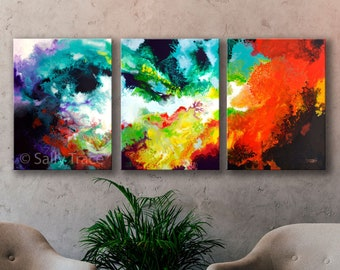 """Abstract Contemporary Colorful Canvas Giclée Triptych Prints from my Original Triptych Fuild Art Pour Painting. """"Windswept"""" three canvas set"""