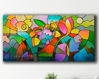 Extra Large Original Abstract Landscape Painting, Floral and Garden Geometric Art, Cubist Painting, abstract floral geometric cubism