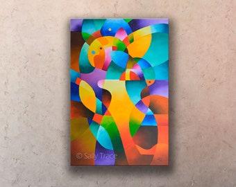 Original Abstract Geometric Hard Edged Painting on Canvas, Original Geometric Art Painting, Colorful Original Art Painting on Canvas