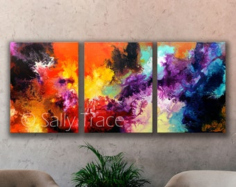 Large abstract fluid art triptych, giclée prints on canvas, three canvas triptych from my original abstract painting, expressionism