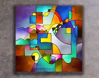 Large Abstract Painting Print, Giclée Print from my Large Modern Geometric Abstract Painting, Large Square Abstract Art, Large Wall Art