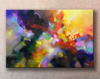 """Giclée print on stretched canvas, from my original abstract painting """"Points of Light"""", contemporary art, modern expressionism"""