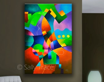 Large Abstract Geometric Art, Giclée Print on Stretched Canvas From My Original Modern Art Painting, expressionism, hard edge abstraction