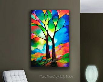 Abstract Tree Print, Abstract Landscape Print, Geometric Art, Abstract Tree Art, Tree of Life Wall Art, Giclée Print on Canvas
