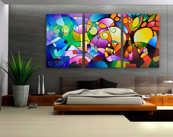 """Abstract art triptych giclée prints made from my original geometric art abstract landscape painting, """"Daydream"""", colorful large wall art"""