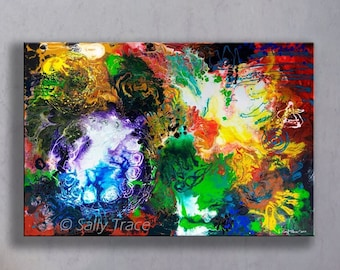Abstract Art Canvas Giclée Print from my Original Abstract Fluid Art Pour Painting, Large Abstract Print, ready to hang
