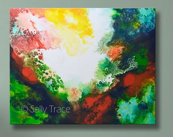 Giclee print on stretched canvas from my fluid art abstract pour painting, large wall art abstract, modern contemporary abstract art