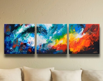 Large Modern Triptych Giclee Print Set on Stretched Canvas made from my Original Fluid Art Abstract Painting, Extra Large Wall Art