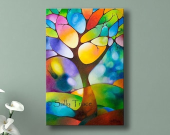 Giclée Print on Stretched Canvas, made from my Original Abstract Mixed Media Tree Painting, Abstract Landscape Painting, Geometric Art