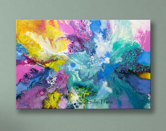 """Abstract art giclée print on stretched canvas, from my original abstract fluid pour painting,""""When the Angel Came"""""""