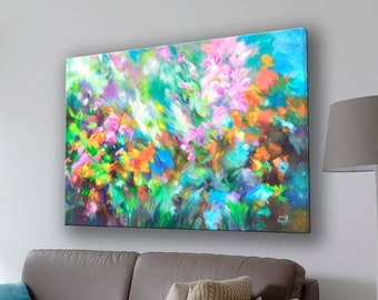 Colorful Abstract Garden Floral Giclee Print on Canvas made from the Original Painting, Contemporary Abstract Modern Wall Art Decor
