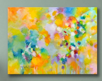 Large Abstract Canvas Giclee Print From My Original Abstract Painting, Yellow Abstract Wall Art, Modern Contemporary Art
