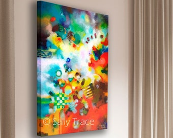 Contemporary Modern Art Vertical Print, Abstract Giclée Print on Stretched Canvas from my Original Contemporary Painting Modern Art Painting