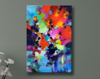 Large Abstract Art Print, Modern Giclée Print on Canvas, from my original abstract acrylic painting, large wall art, colorful wall art