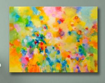"Large Giclée Print on Canvas, Modern Art Print, Large Wall Art Print from my Original Abstract Painting ""Lightness"""