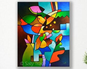 Abstract Art Canvas Print, From the Original Cubist Still Life Painting, Geometric Abstract Still Life Art, Modern Cubist Giclée Print