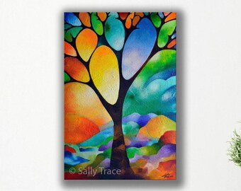 Modern painting, original abstract landscape on canvas, abstract tree painting commission, tree of life art, geometric art, made to order