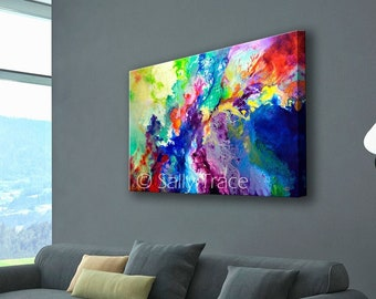 Fluid art giclée print on stretched canvas from my original modern abstract fluid painting, flow painting, modern art