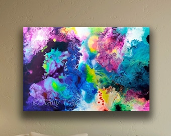 """Giclée print on stretched canvas from my original fluid acrylic pour painting """"New Life"""", large fine art canvas print"""