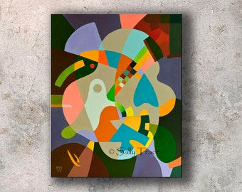 Abstract Contemporary Geometric Original Painting Commission with a Mid Century Modern Esthetic, Made-to-Order
