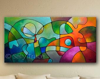 """Fine art giclée print on stretched canvas with a mid century modern esthetic. Made from my original abstract acrylic painting """"Equanimity"""""""